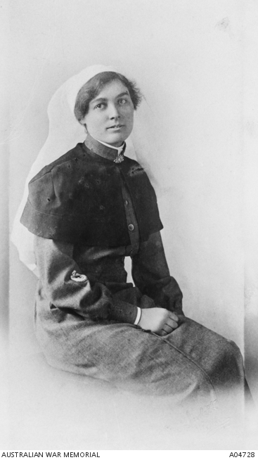 Portrait of Staff Sister Pearl E. Corkhill MM, Australian Army Nursing Service (AANS), of Tilba Tilba, NSW. Awarded the Military Medal, 28 August 1918, aged 31.