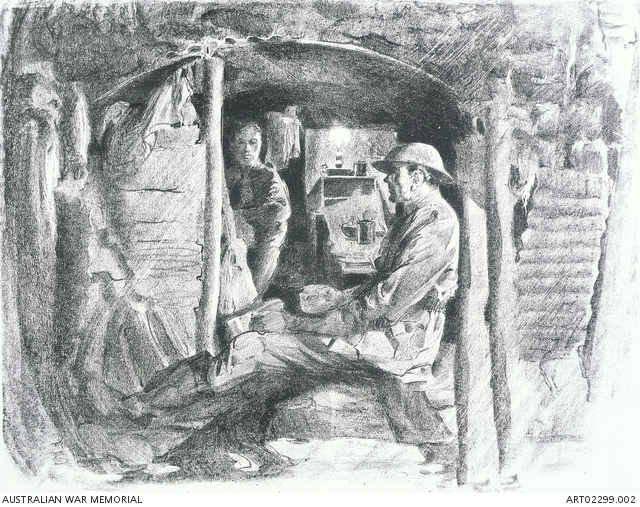 'Battery Commander's dug-out, Hill 60' by Will Dyson