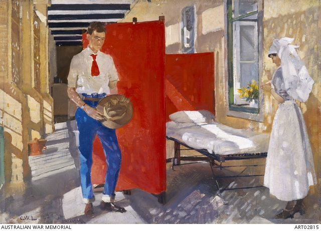 Balcony of troopers' ward, 14th Australian General Hospital, Abbassia. ART02815