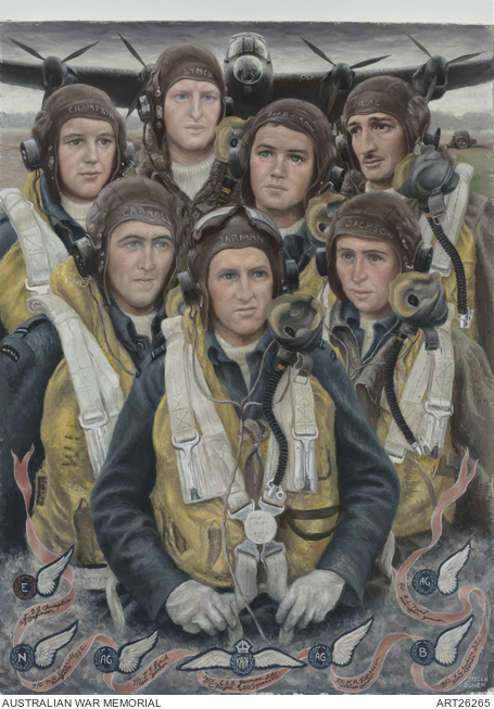 Official war artist Stella Bowen painted this picture of a 460 Squadron Lancaster bomber crew in 1944. All but Flying Officer T.J. Lynch died during a night raid on Germany.<. ART26265