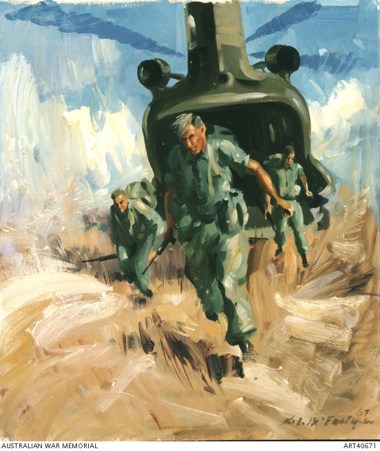 Ken McFadyen, Disembarking from Chinook helicopter ART40671