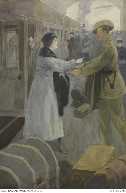 Depicts an Australian digger bidding farewell to a young woman at the train station. ART93275