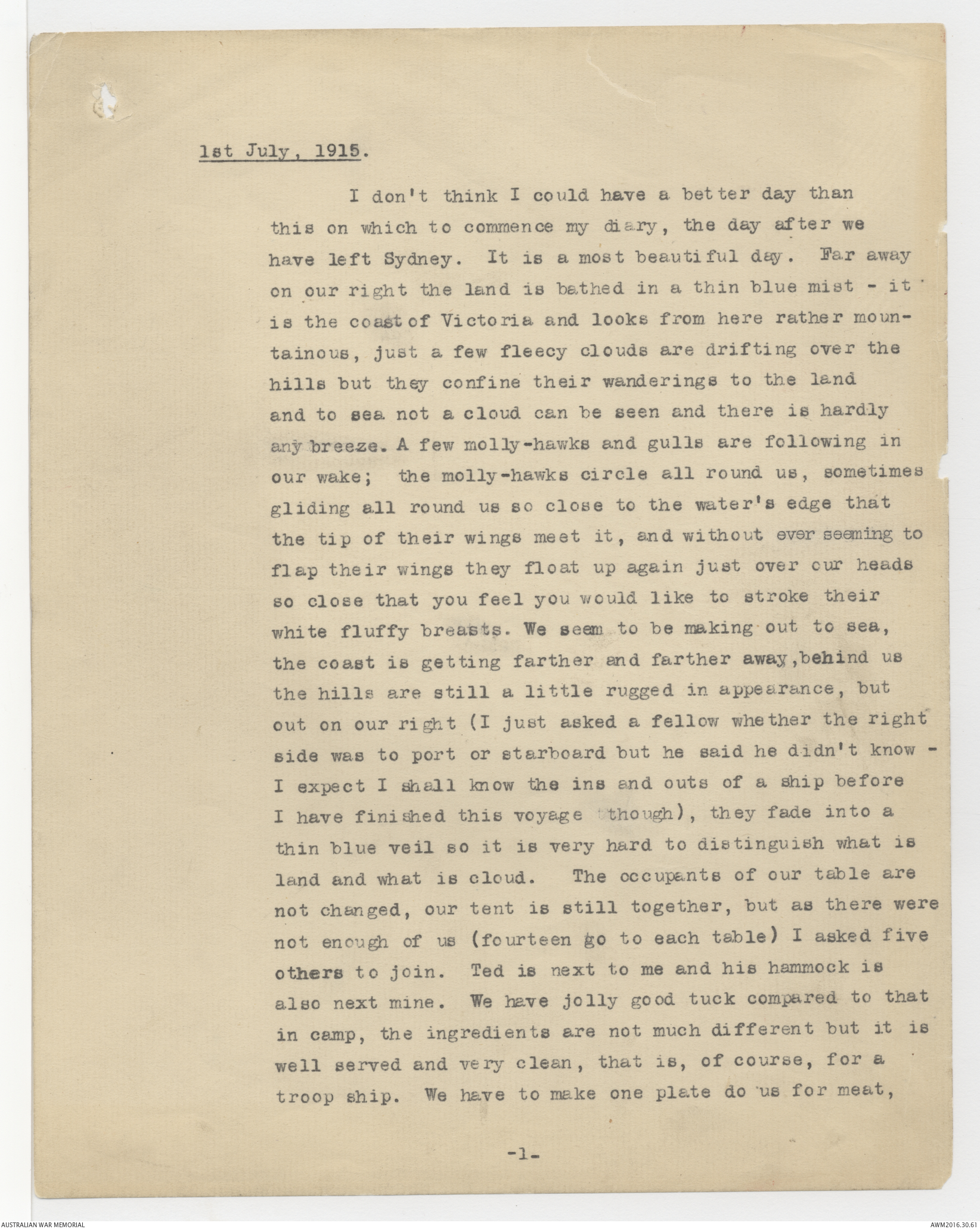 Typescript copy of diary entries of Percy Wellesley Chapman 1 July