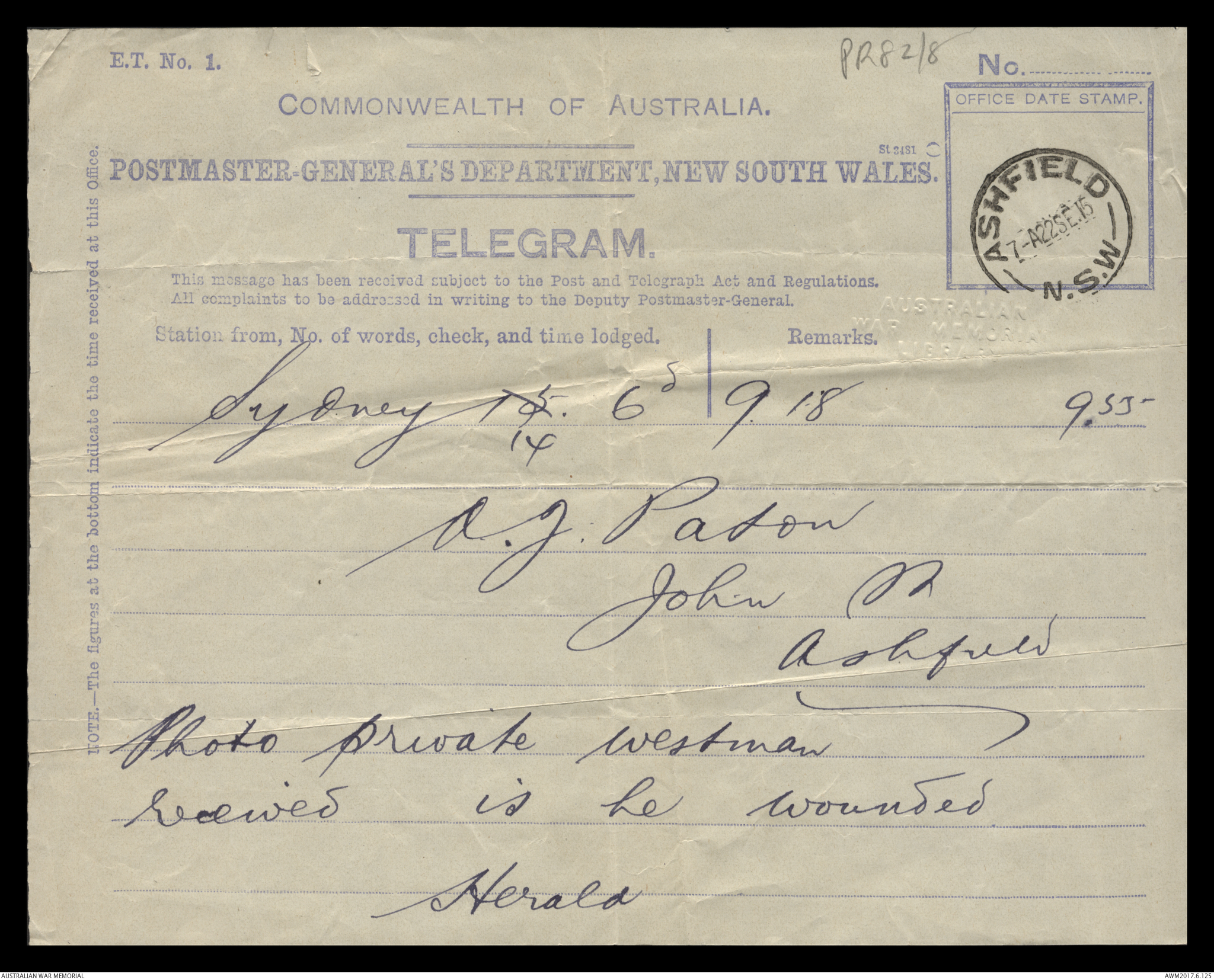 A telegram from the Sydney Morning Herald to A  J [Arthur