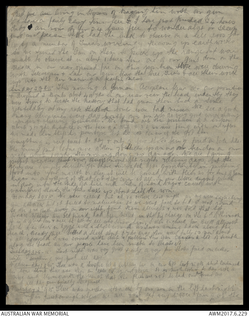 Loose page diary of Clarence Herbert Dakin, 15 August 1915