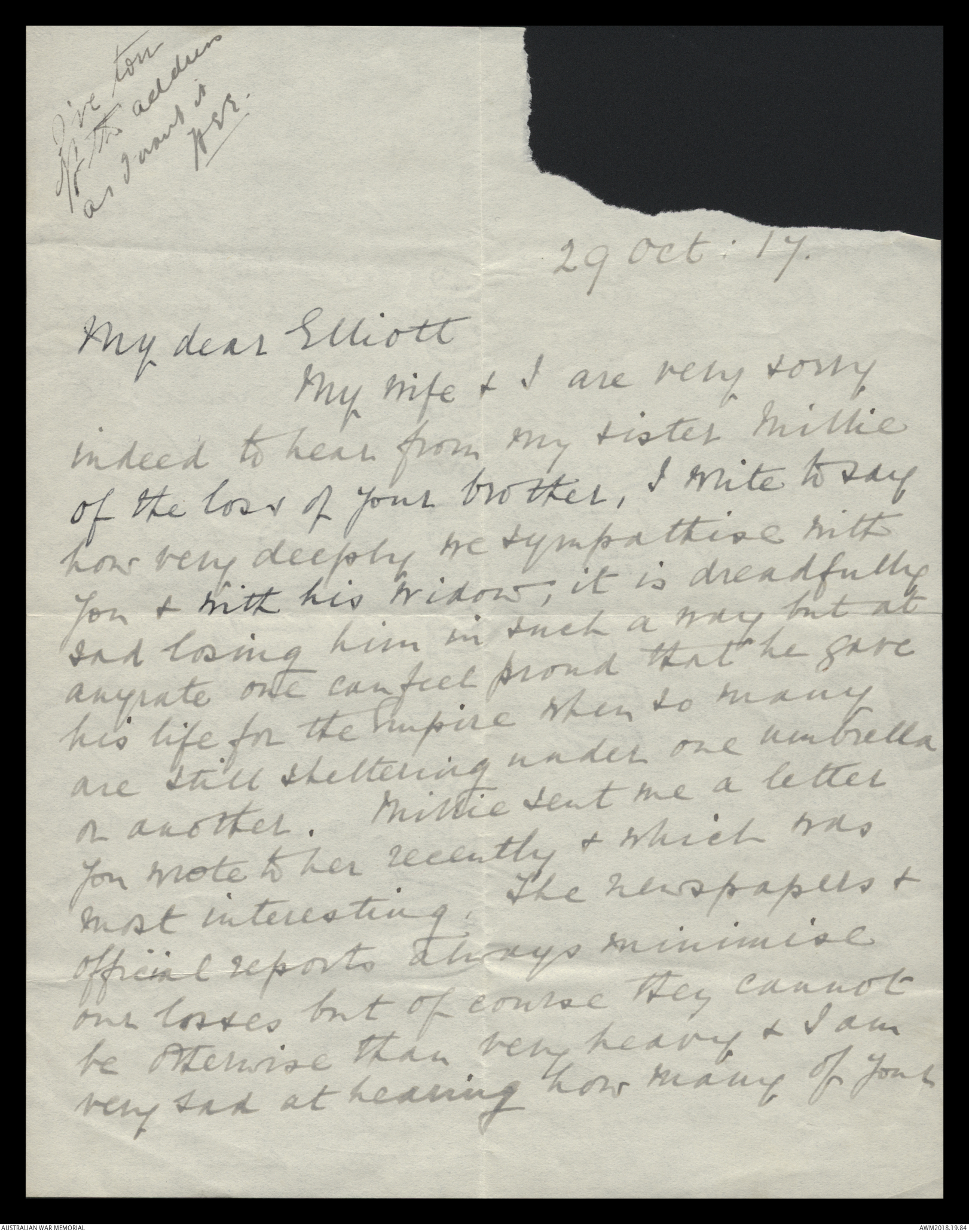 Letters to Harold Edward Pompey Elliott from various family