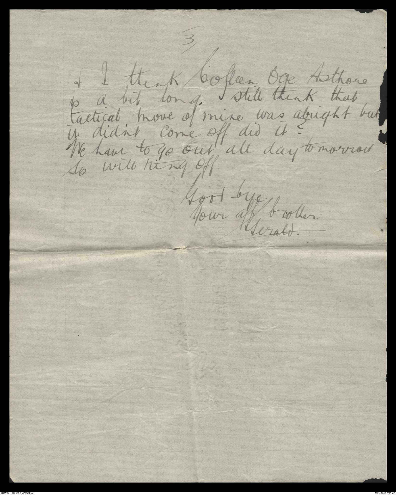 Letters from David Gerald Evans to his family, 1915 | The