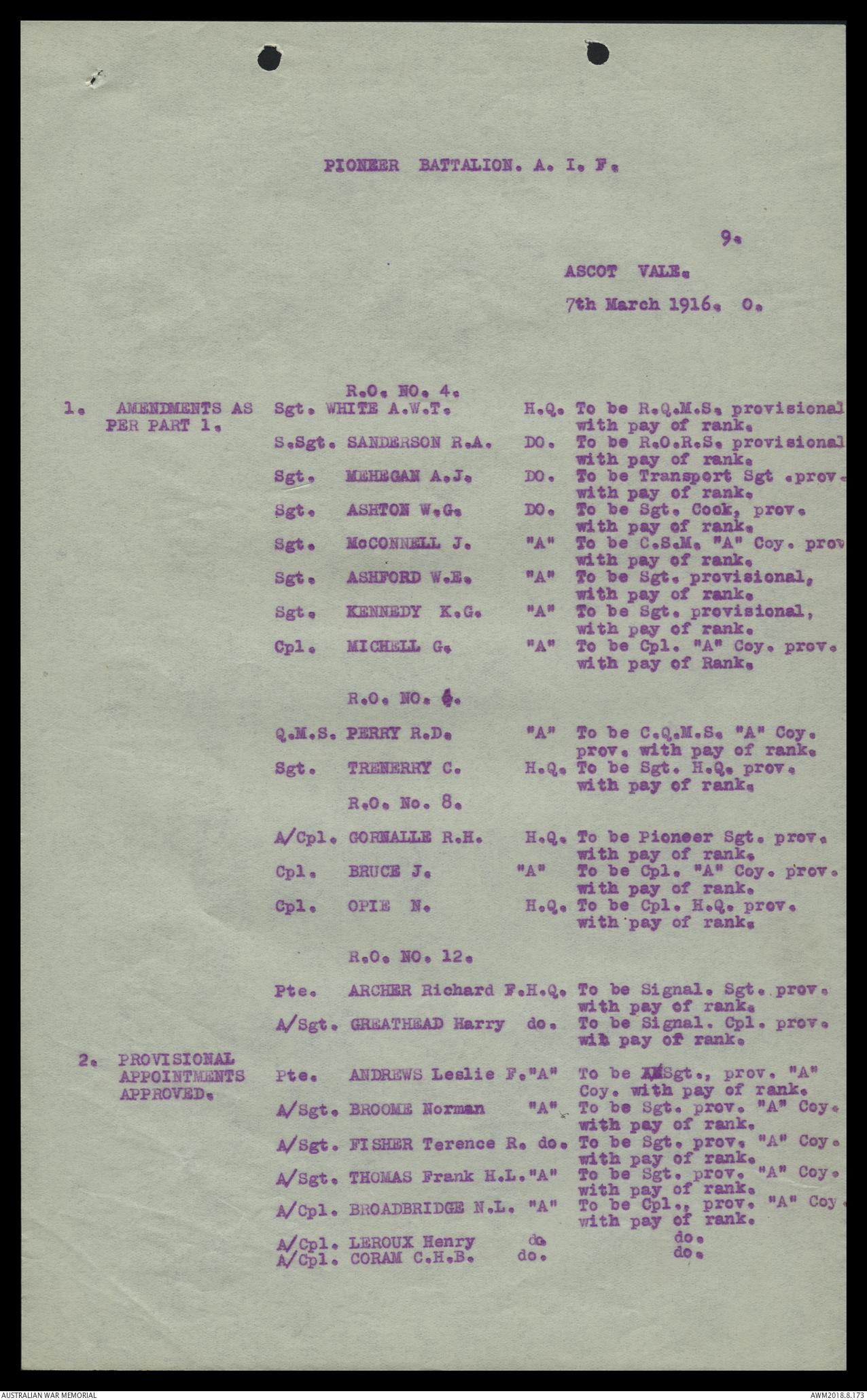 AWM25 707/9 Part 607 - [Written records, 1914-18 War