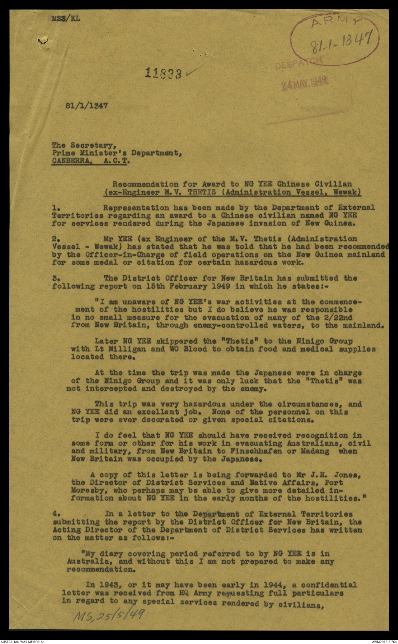 AWM119 243 - Recommendation for award to N G Yee (MV Thetis