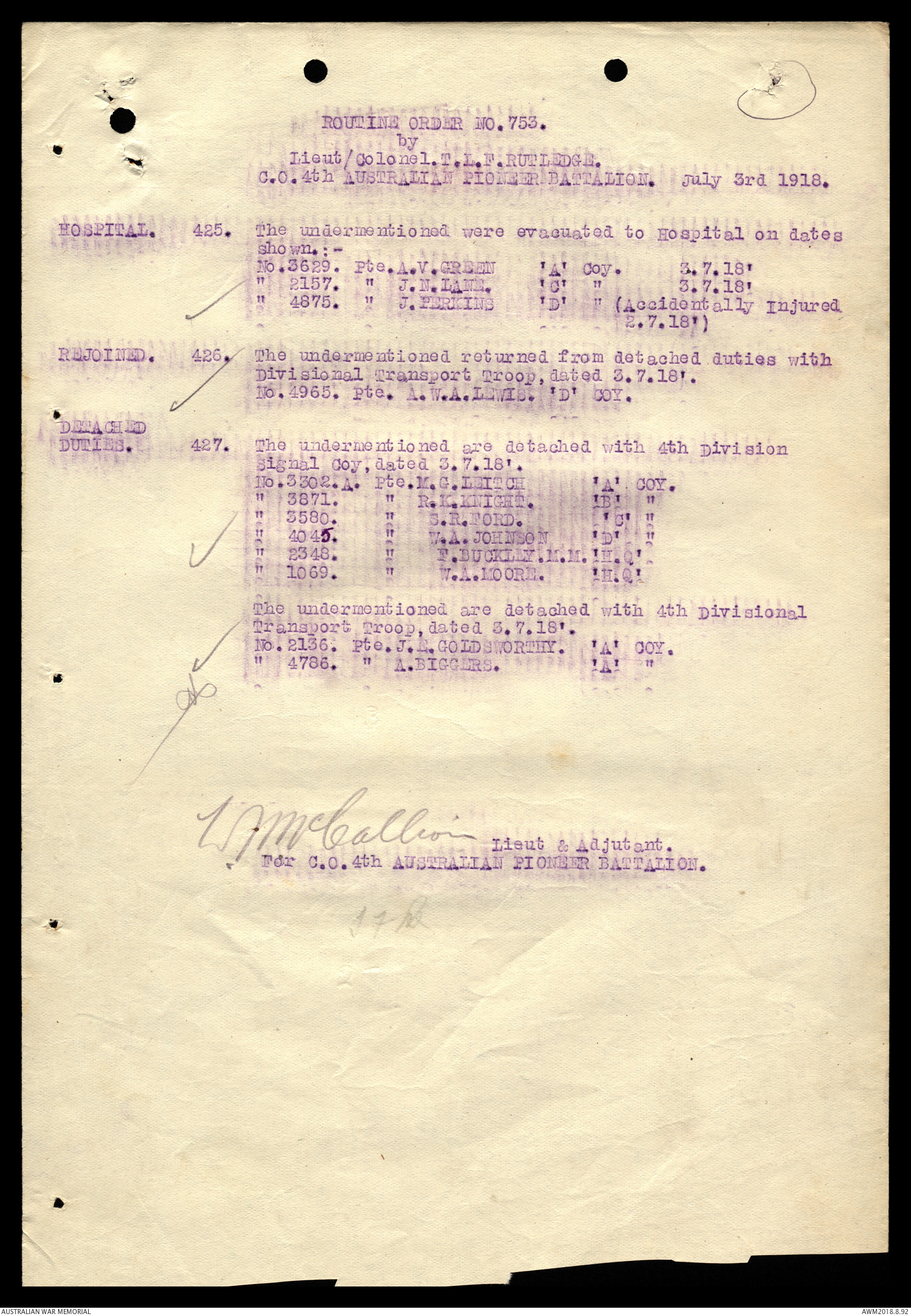 AWM25 707 9 Part 626 Routine Orders 4th Pioneer Battalion July