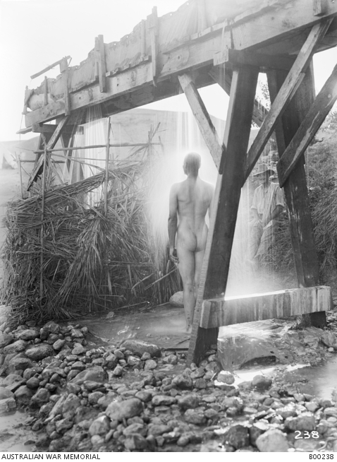 A naked member of A Squadron, 9th Australian Light Horse