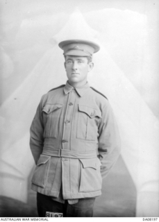 Studio portrait of 480 Private (Pte) Martin Thomas O'Donoghue, 24th Battalion, of Melbourne, Vic. Pte O'Donoghue enlisted on 3 March 1915 and returned to Australia on 9 March 1919