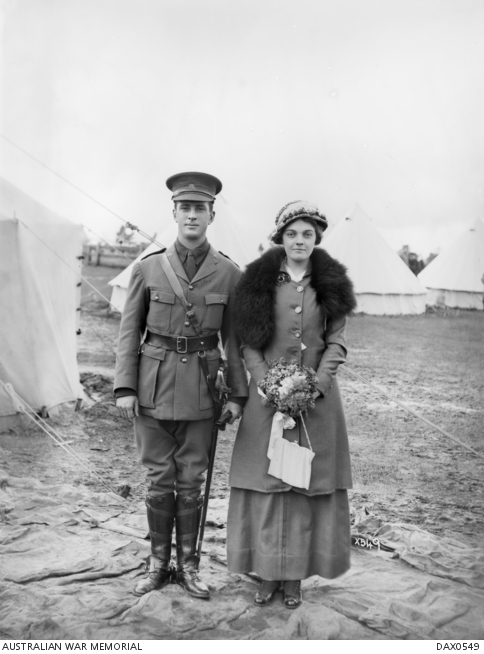 Portrait of Acting Sergeant (later Lieutenant) John Frederick Bagot and his bride Eileen Dubois Ive. DAX0549.