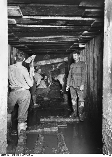Miners of the 1st Australian Tunnelling Company excavating dug-outs in the Ypres sector.