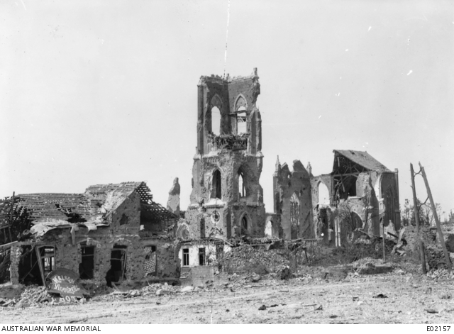 View of the ruined church of Villers-Bretonneux