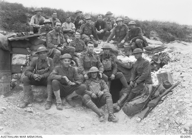 Americans with members of the Australian 37th Battalion at Villers-Bretonneux, June 1918, while attached for instruction.