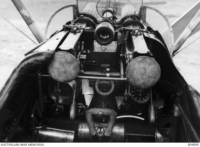 The instruments and armament of a Sopwith Camel from No. 4 Squadron, AFC