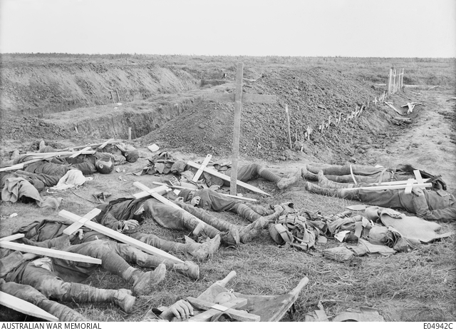 Americans killed in fighting near Gillemont Farm awaiting burial, 3 October 1918.