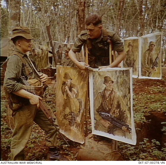 Vietnam  1967  Official war artist Lieutenant Bruce Fletcher of Glen