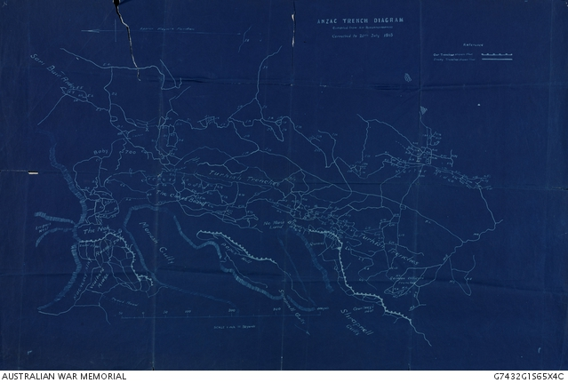 Anzac trench diagram blueprint the australian war memorial download low res image malvernweather Choice Image