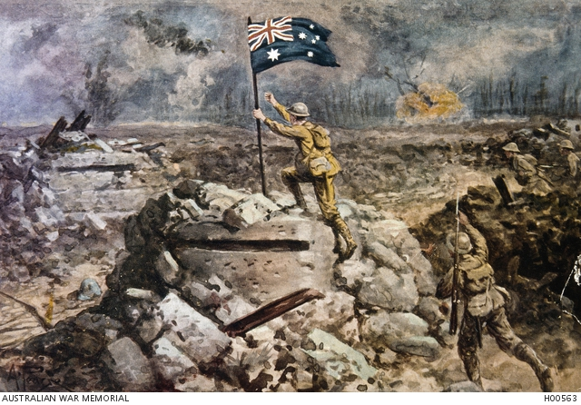 The artistic impression which Maxwell mentions above.  The action portrayed relates to the taking of the 'Anzac House' pillbox during the Menin Road battle (20 Sept), not the Polygon Wood battle (26 Sept) with which it was sometimes confused.