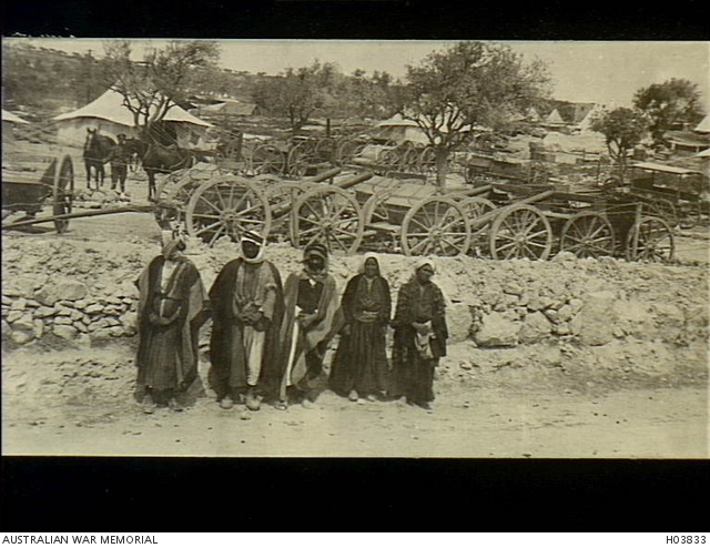 jerusalem palestine 1918 03 five local natives stand in front of