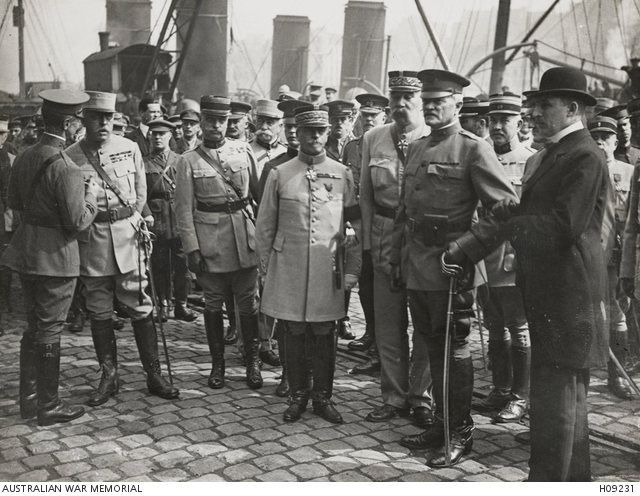 General J. J. Pershing (second from right), arrives at Boulogne, France, in 1917