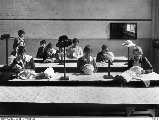 Melbourne, Victoria. Widows of Australian WW1 soldiers at a millinery class at a vocational training school. H13035