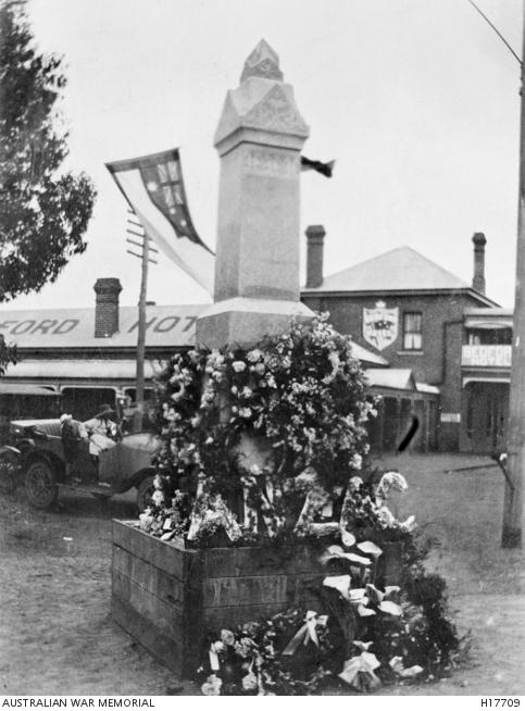 First World War memorial after an Anzac Day service, Brockton, Western Australia