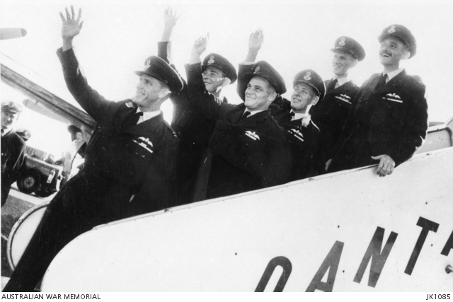 RAAF ex-prisoners of war departing Japan for Australia by Qantas in September 1953