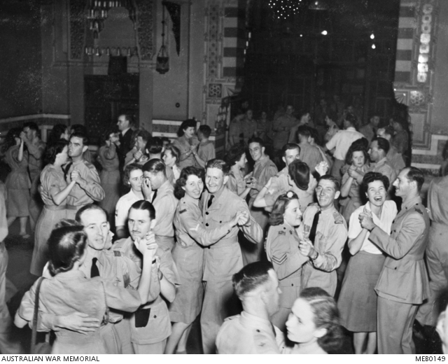 A dance at the YWCA ballroom in Cairo for members of the RAAF Liaison Office. MEB0149