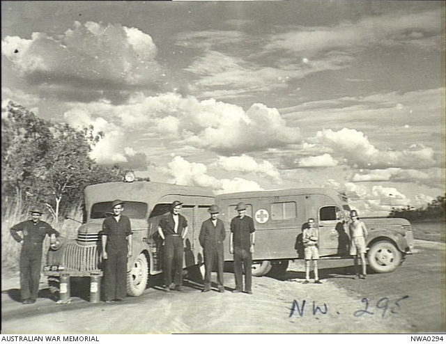 McDonald, NT  4 May 1943  Crew of an ambulance and a fire truck with