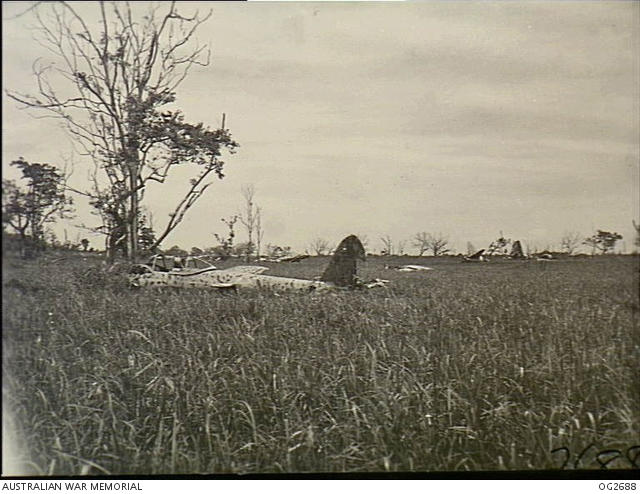 Dagua airfield near Wewak, New Guinea, after its capture by Australians in March 1945, showing some of the more than 100 Japanese aircraft found wrecked there