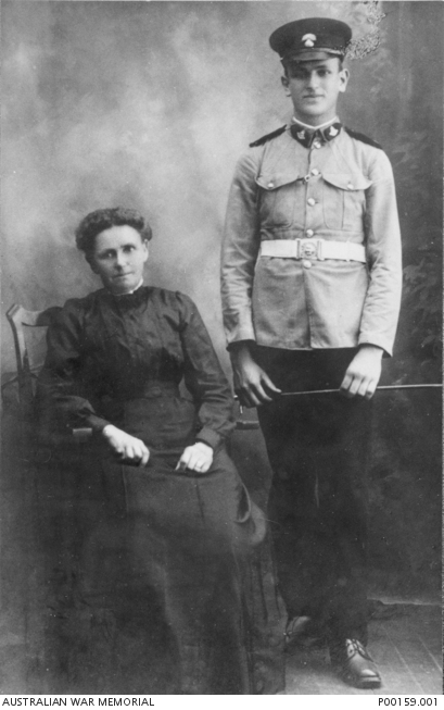 AIF soldier Walter Lesley Schwarz with his Mother. He deserted in England and joined the Royal Fusiliers.