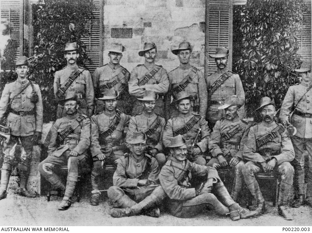 The 2nd South Australian Mounted Rifles in Adelaide before their departure for South Africa. Harry Morant, then a corporal, is sitting on the right at the front of the photograph.