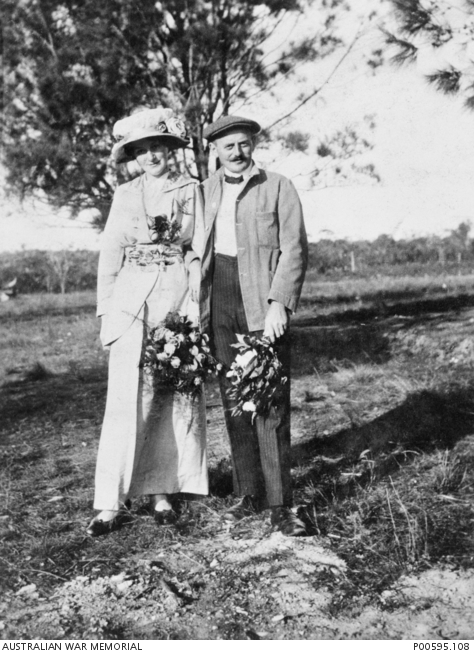A German couple, Johanna Weiters and Fritz Haarstich, on their wedding day. P00595.108.