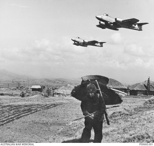 korea c  1952 two gloster meteors airborne above kimpo