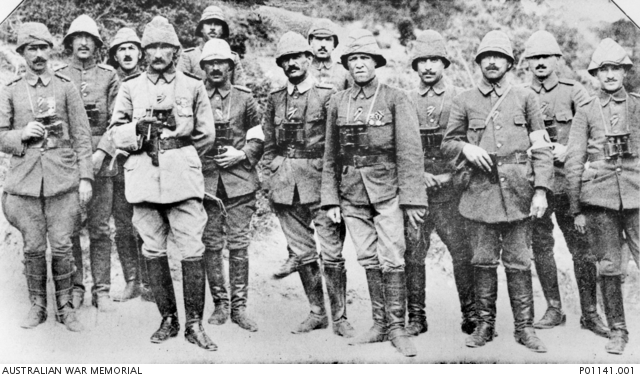 Colonel Mustafa Kemal (fourth from left) with officers and staff of the Anfarta group, Gallipoli Peninsula, 1915.
