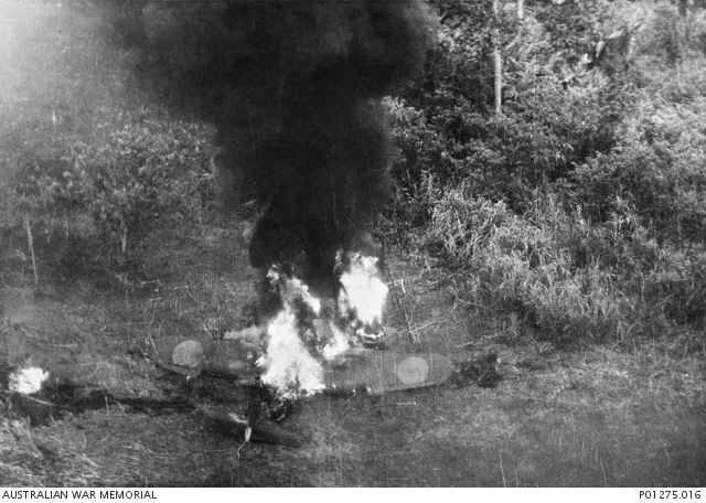A Japanese Zero fighter burns on the ground at Lae after an attack by Beaufighters of 30 Squadron, RAAF, on 4 March 1943. Allied aircraft focused their attacks of enemy airfields in the days after the battle of the Bismarck Sea, aiming to ensure that Japanese air power did not prevent the destruction of the targeted convoy.