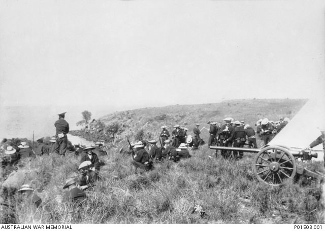 Sailors of the NSW Naval Brigade during a training exercise probably on the coast of NSW, c.1895.