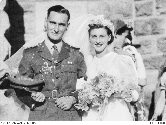 Captain Ronald Henry Christian MC and bar and Yvonne Marcelline Marie 'Dickie' Antoine after their wedding, 1943.P01641.028
