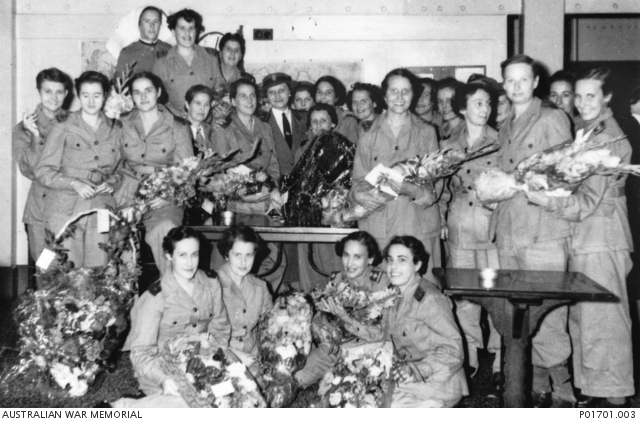 Group portrait of nurses who were prisoners of war