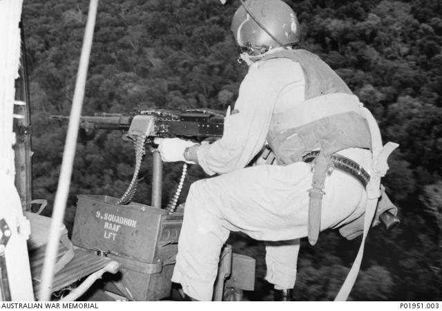 Vung Tau, Vietnam  A No 9 Squadron RAAF door-gunner in
