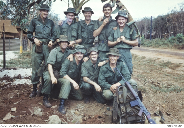 A group portrait of the members of the assault pioneer platoon, support company, 7RAR shortly before they left on Operation Coburg.