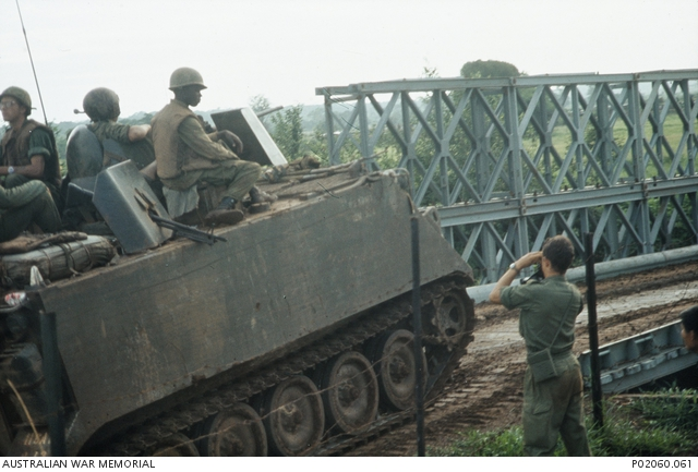 Song Rai River, South Vietnam  1967-07  Soldiers on top of
