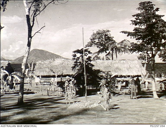 The flagpole in the liberated camp of the 1st Hyderabad Regiment at Rabaul