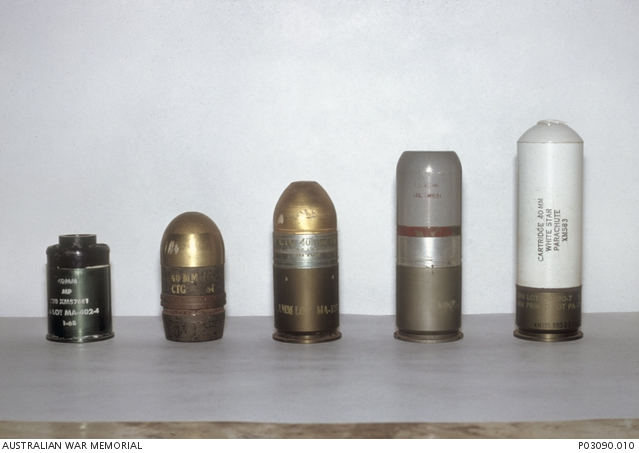 A selection of 40 mm grenade rounds which can be fired from the M79