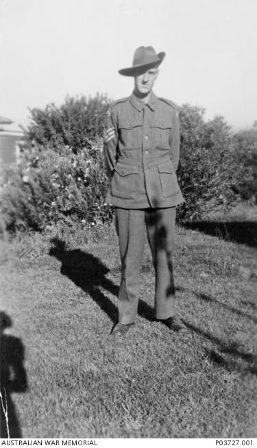 Informal portrait of NX52530 Staff Sergeant (SSgt) Samuel Edward Cameron, 2/19th Battalion, of Queanbeyan, NSW. P03727.001.