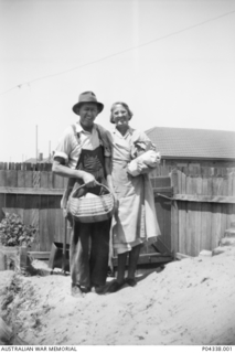 My mother and brother Fred Adams demolishing the Anderson Air Raid Shelter. An Anderson air raid shelter was constructed in the back yard of the Adams family home at 405 Gardeners Road, Mascot, ..
