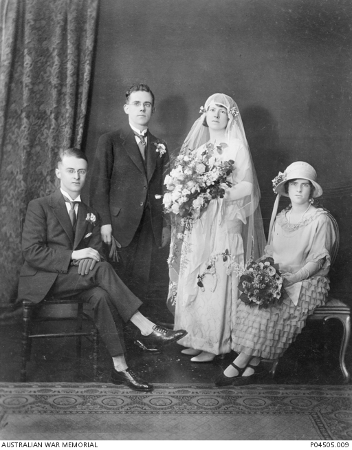 Group Portrait Of Four Members A Wedding Party Identified